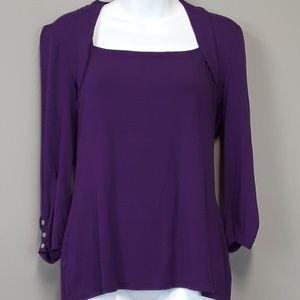 White house black market purple 3/4 sleeve top
